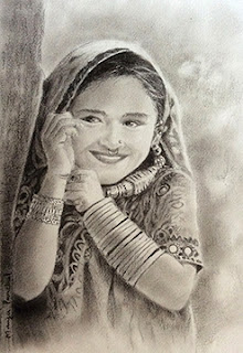 Charcoal sketching of a portrait of a young girl from Kutch, India, By indian artist Manju Panchal