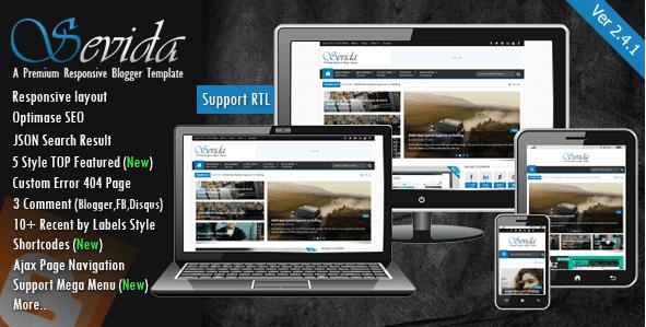 Sevida v2.4.2 premium responsive blogger tema