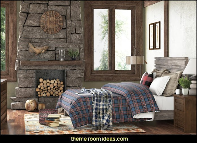 log cabin - rustic style decorating - Cabin decor - bear decor - camping in the northwoods style  - Antler decor - log cabin boys theme bedroom - Cabin Bedding - Rustic Bedding - rustic furniture - cedar beds - log beds - LOG CABIN DECORATING IDEAS - Swiss chalet ski lodge murals - camping room decor - hunting and fishing theme decorating - winter cabin decorating