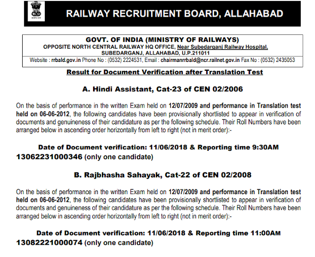 RRB+Allahabad+Result+for+Document+Verification