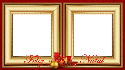 Natal - Moldura Douradas sob Red 50 - 2 fotos com Feliz Natal