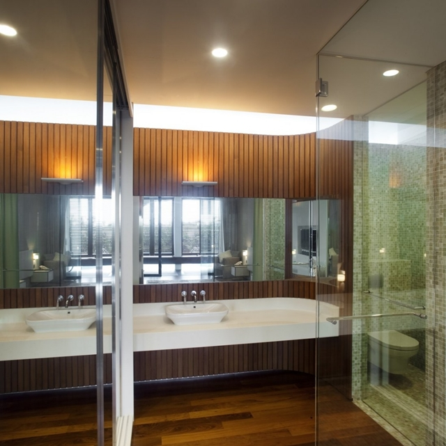 Picture of modern bathroom with wooden wall