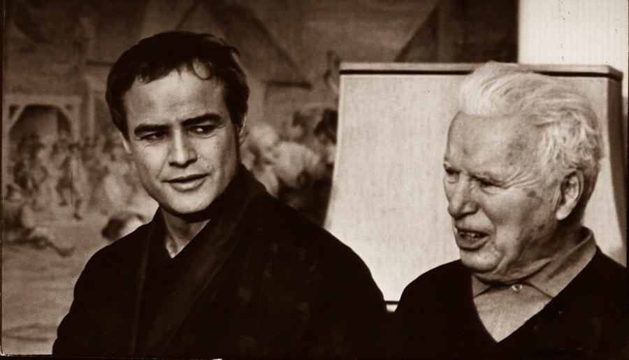 Charlie Chaplin with Marlon Brando