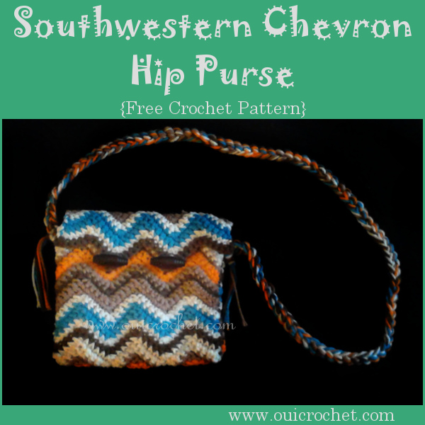 This Southwestern style crochet chevron hip purse is the perfect size to carry your essentials. Designed by #OuiCrochet