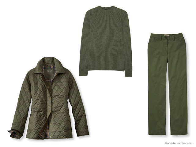 three green cold-weather garments: jacket, sweater and twill pants