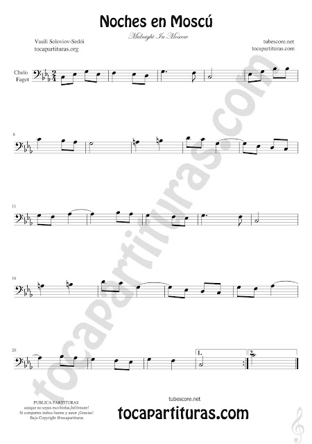 Violonchelo y Fagot Partitura de Noches en Moscú Sheet Music for cello and bassoon