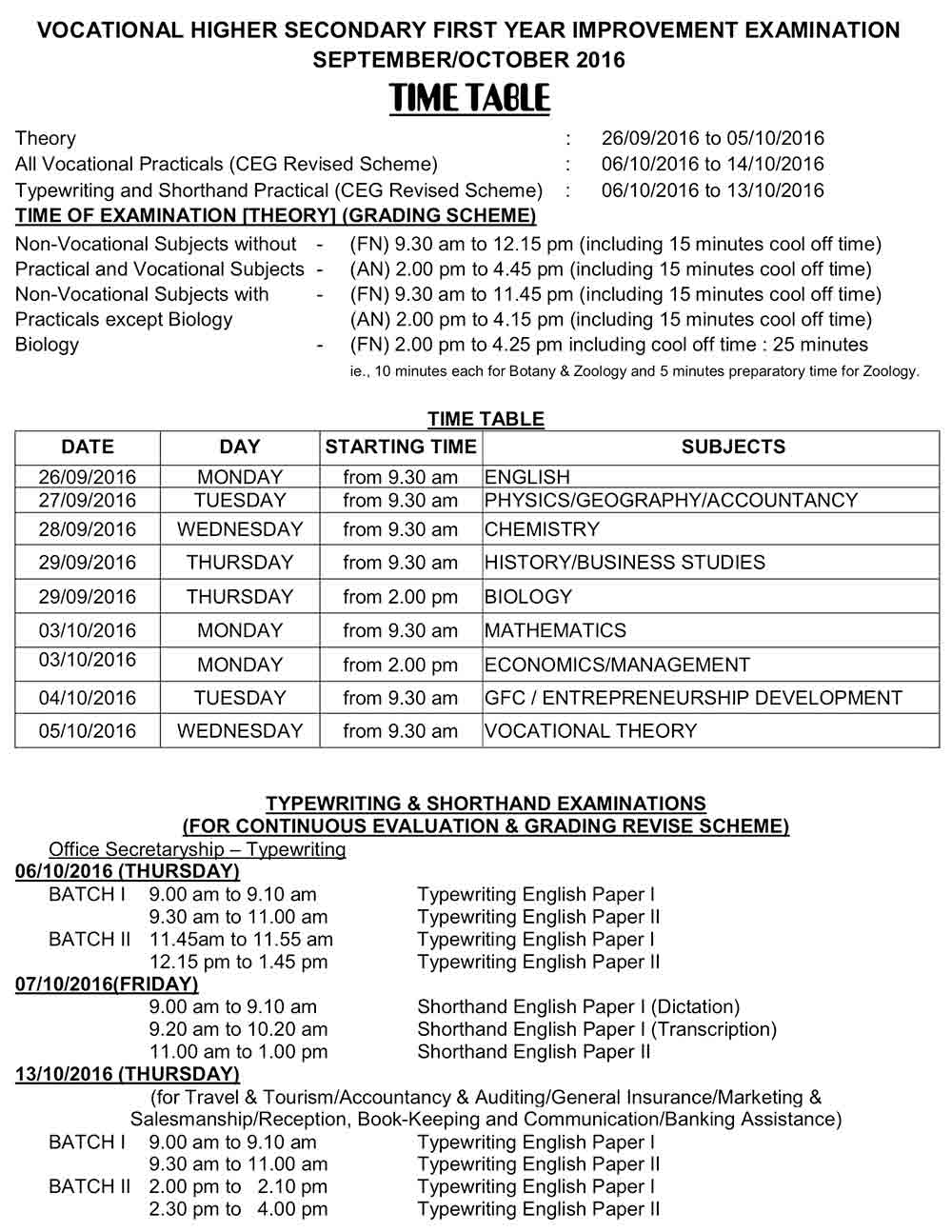 vhse plus one +1 first year improvement timetable 2016
