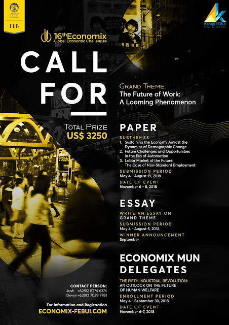 Lomba Call For Delegates, Paper & Essay Competition UI 2018