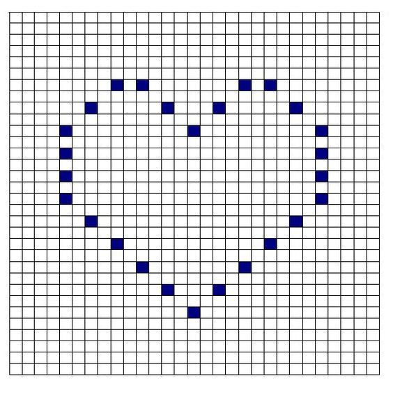 patron corazon para tejer manta crochet