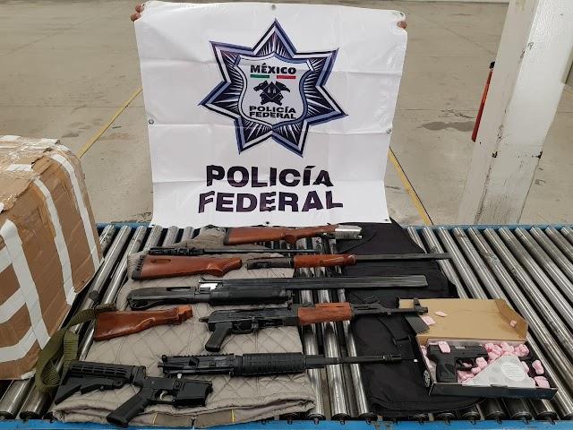 BINOMIOS CANINOS DE POLICÍA FEDERAL LOCALIZAN ARMAMENTO EN PAQUETERÍA DE QUERÉTARO