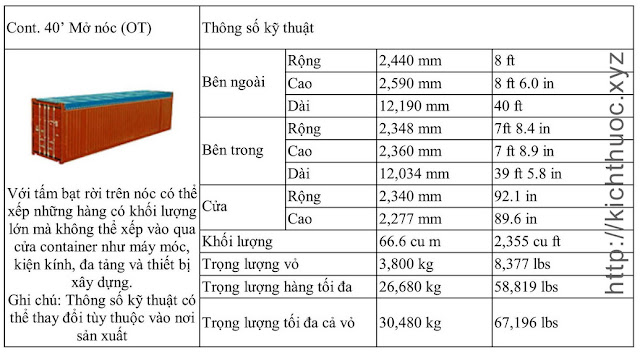 kich thuoc container mo noc 40 feet