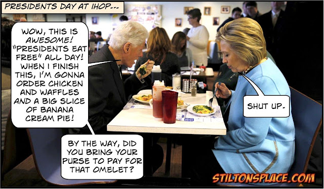 stilton's place, stilton, political, humor, conservative, cartoons, jokes, hope n' change, presidents day, clintons, trump, smollett, hoax, national emergency, biden