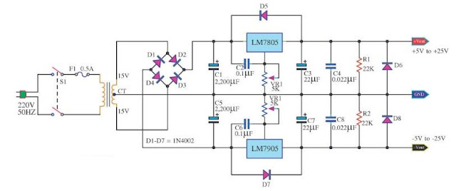 دائرة منظم الجهد 7805 لتنظيم جهد +5 فولت و -5