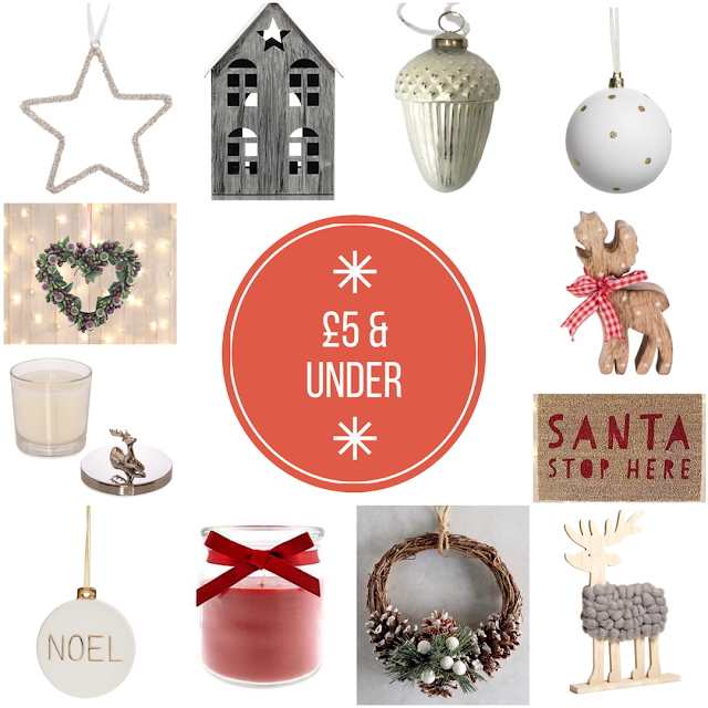 Christmas decor for £5 or under
