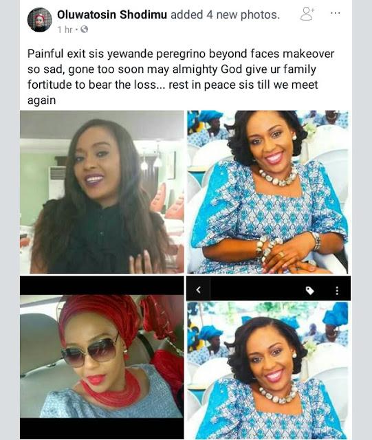 Sad!?Lagos based make-up artist, Yewande Peregrino of Beyond Faces has died!