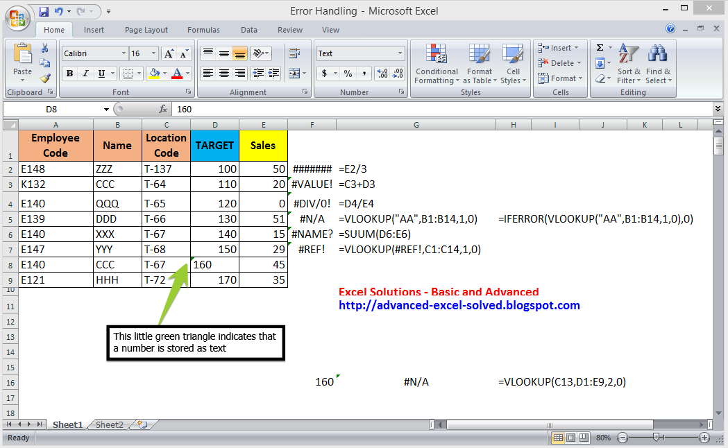 #N/A #VALUE #DIV/0 #NAME? #REF #NUM #NULL #### error messages in Microsoft Excel. Error Handling in MS Excel | Excel Solutions - Basic and Advanced