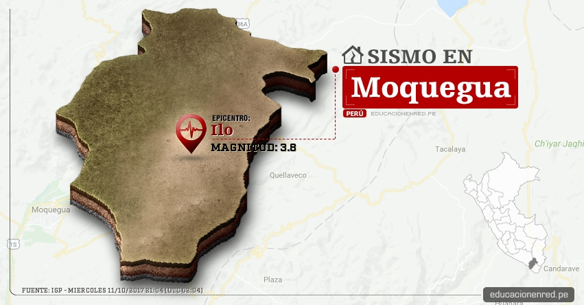 Temblor en Moquegua de 3.8 Grados (Hoy Miércoles 11 Octubre 2017) Sismo EPICENTRO Ilo - IGP - www.igp.gob.pe