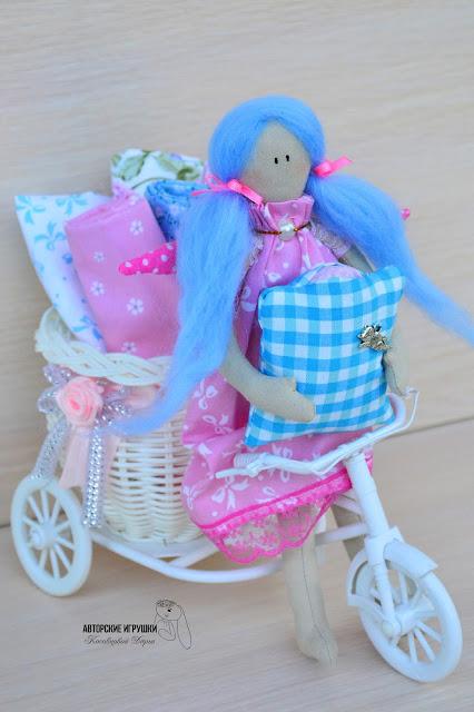 кукла тильда, ангел тильда, ангел тильда в розовом, кукла ручной работы, ангел тильда с голубыми волосами, кукла на заказ киев, кукла тильда купить киев