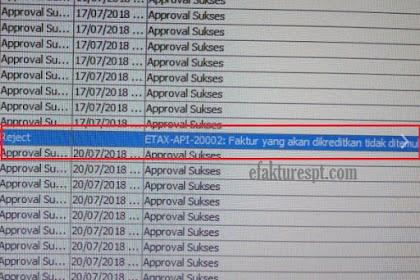 Solusi e-Faktur Reject Error ETAX-API-20002 : Faktur Yang Akan Dikreditkan Tidak Ditemukan