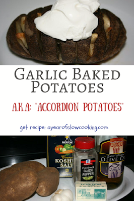 Such a fun side dish! Bake up to 10 large potatoes at once in the crockpot slow cooker. Nestle in garlic slices, butter, olive oil while they are cooking to achieve that awesome accordion look. :-)