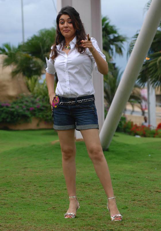 Hansika Legs Show Photos In White Dress