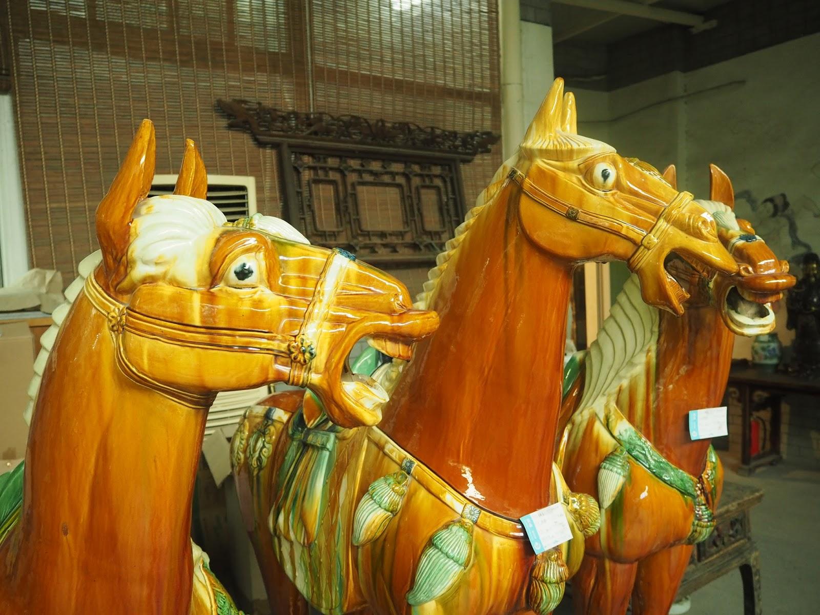 horse ceramic statues