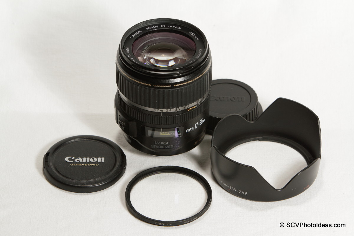 Canon EF-S 17-85mm F/4.0-5.6 IS USM w/ EW-73B hood and UV filter