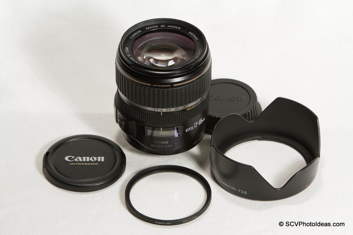 Canon EF-S 17-85mm F/4.0-5.6 IS USM w/ EW-73B hood and UV filter