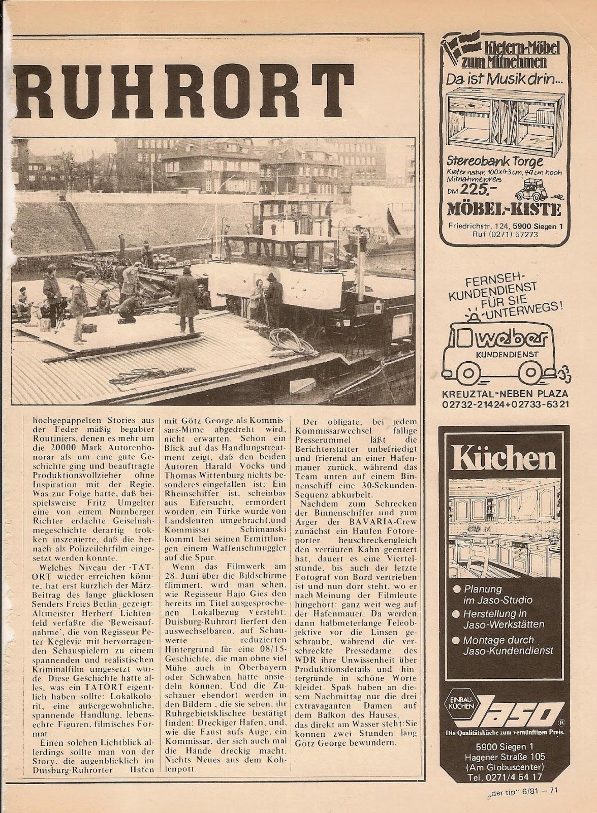 krimiblock: MARABO 6/1981Tatort RuhrortDrehbericht vom