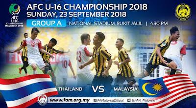 Live Streaming Malaysia vs Thailand AFC U16 23.9.2018