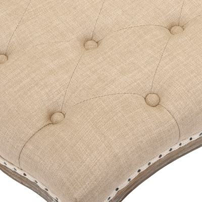 Tufted Linen and Oak Bench Details