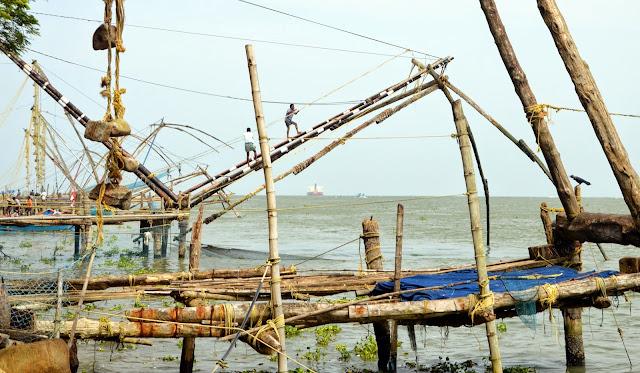 Redes de pescar chinas en Kochi
