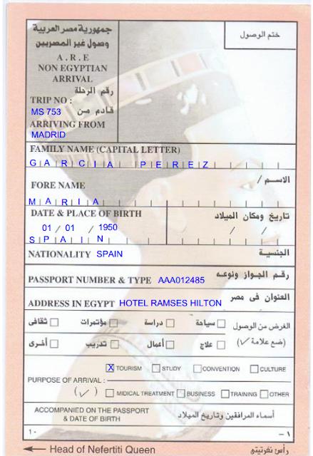 papelito inmigración Egipto relleno completo www.bidtravel.es