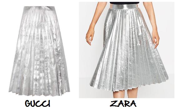 clones 2016 falda plisada plateada Gucci Zara