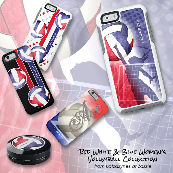 red white and blue women's volleyball cases and gifts