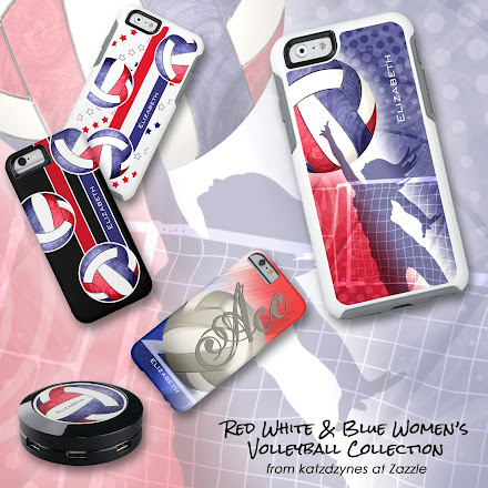Women's volleyball device cases and gifts featuring America's colors--red, white and blue
