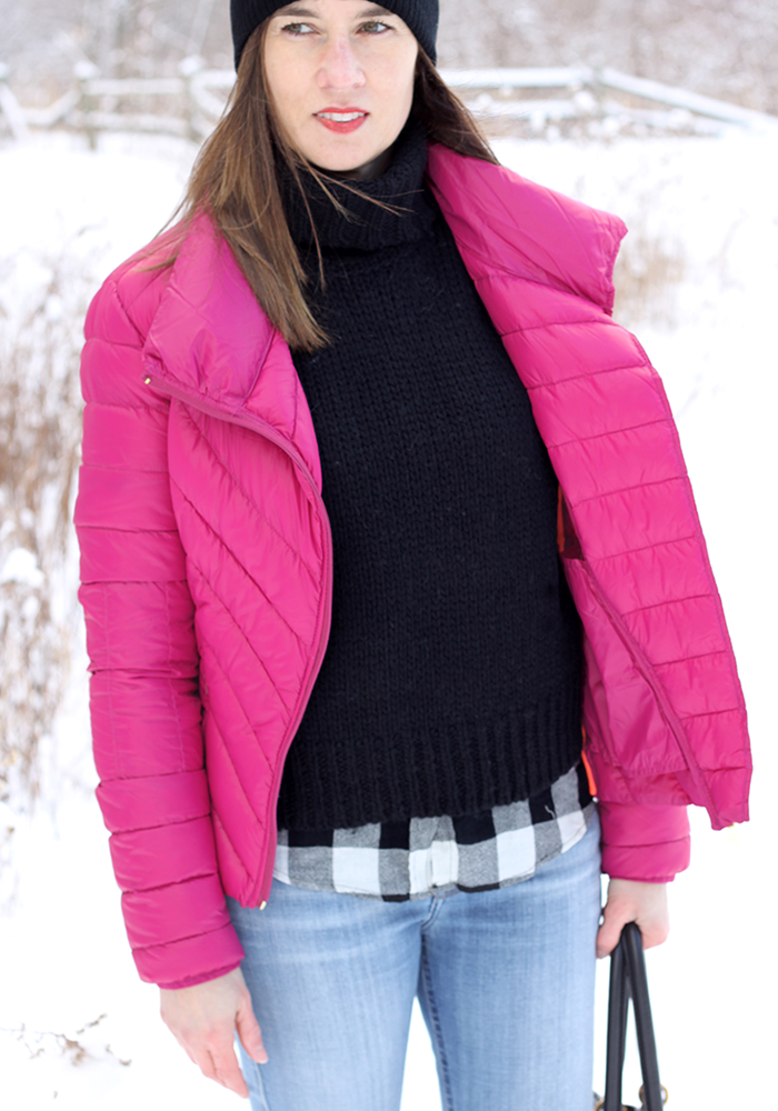 layering shirt sweater, puffer jacket, winter style, fashion blogger