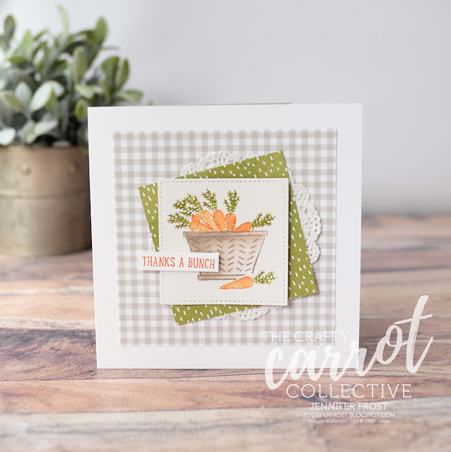 Basket Bunch, Thank you card, Succulent Garden DSP, The Crafty Carrot Co, Customer rewards program, Papercraft by Jennifer Frost
