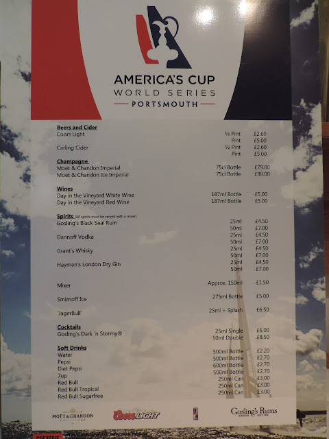 bar price list poster americas cup world series portsmouth 2015