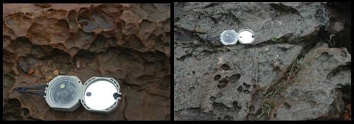 Diferentes formas e tamanhos de tafoni desenvolvidos na superfície dos quartzitos do Pico do Jaraguá. (clique para ampliar) Foto: acervo Letta/Velázquez
