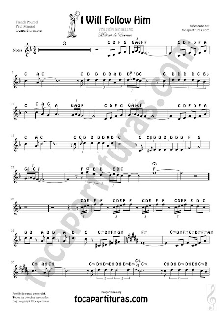 Easy Notes Sheet Music for Treble Clef I will follow him, Violins, Flutes, Saxophones, Clarintes, Trumpets, Horns... Partitura con Notas en Inglés Clave de Sol