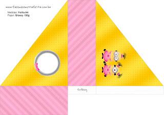 Servilletero para  imprimir gratis de Minions Chicas.