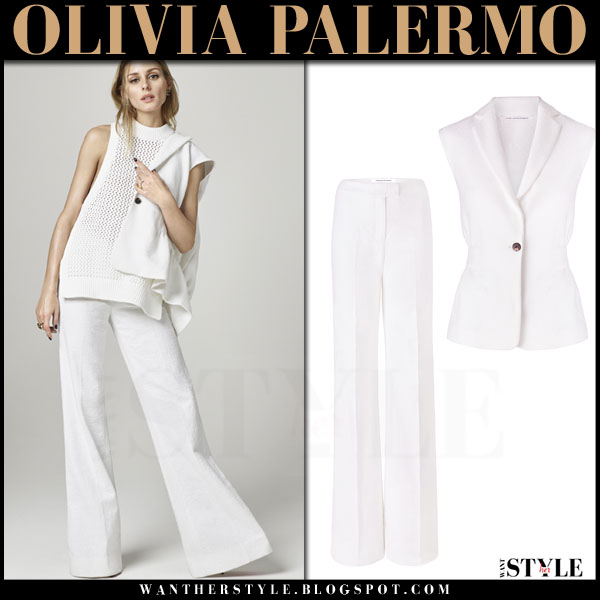 0e04e710ccb3ea Olivia Palermo in white sleeveless vest and white wide leg pants ~ I ...