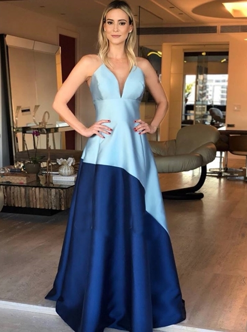 vestido  azul  princesa longo