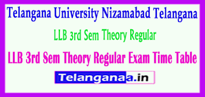 Telangana University LLB  LLM  Exam Time Table