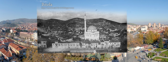 View toward Isak Mosque from the Clock Tower  - Bitola during WW1