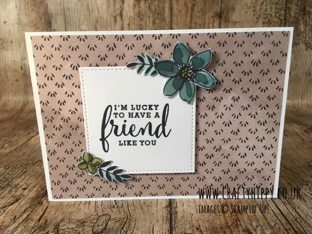 This image shows a handmade card created with Stampin' Up! products from the Share What You Love suite and says 'I'm lucky to have a friend like you'.
