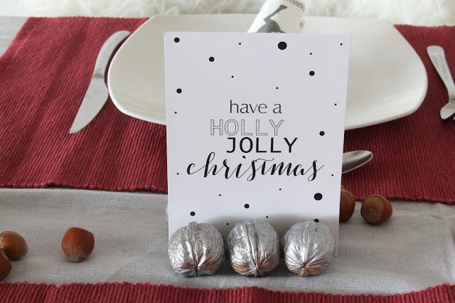 Tischdeko Weihnachten Advent DIY mit Mandeln Nuessen Jules kleines Freudenhaus