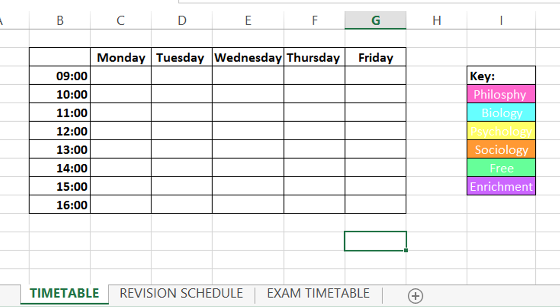 How To Balance Life And Blogging timetable college school spreadsheet