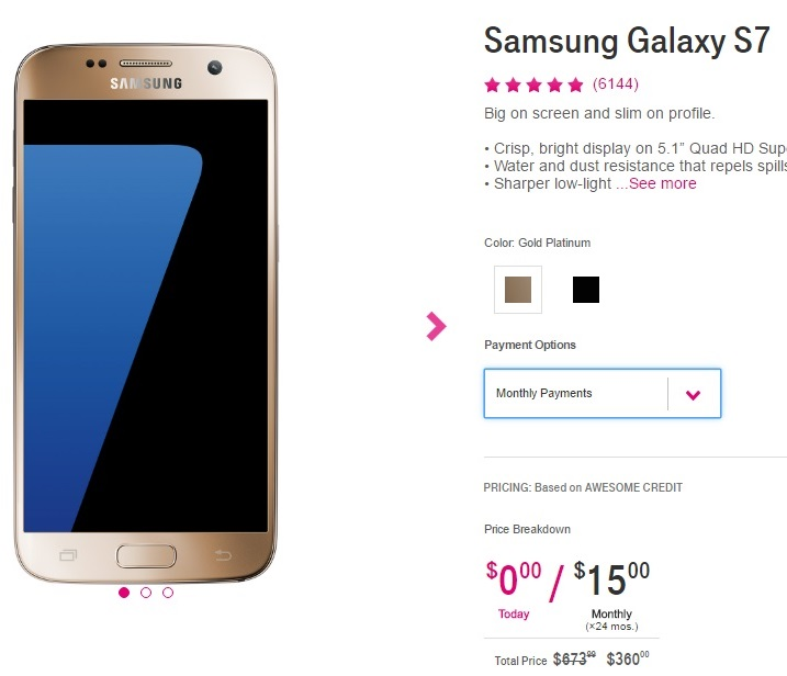 Samsung Galaxy S7 and S7 Edge on sale at T-Mobile for $360